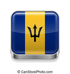 Metal icon of Barbados - Metal square icon with flag colors...