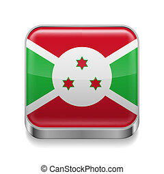 Metal icon of Burundi - Metal square icon with flag colors...