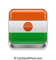 Metal icon of Niger - Metal square icon with Nigerian flag...