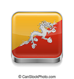 Metal icon of Bhutan - Metal square icon with flag colors of...