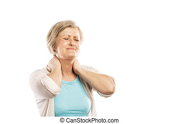 Senior woman suffering from neck pain, isolated on white...