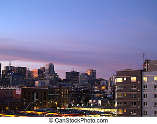 San Francisco Train Station and Cityscape at Dusk - San...