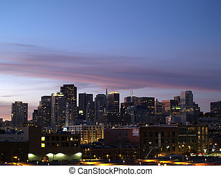 San Francisco Train Station, SOMA, and Downtown Cityscape of...