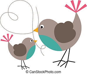 Bird and Birdie - Scalable vectorial image representing a...