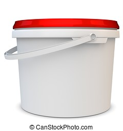 3d blank white tub paint plastic bucket container on white...