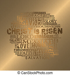 Christ is Risen - Religious words in gold style Easter...