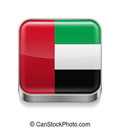 Metal icon of United Arab Emirates - Metal square icon with...