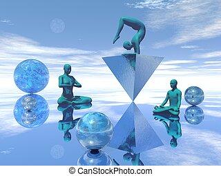 Blue meditation - 3D render