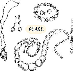 Pearl jewelry. Set of hand drawn illustrations.