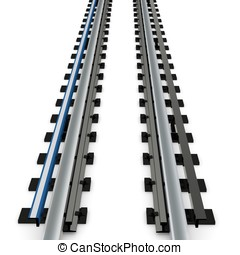 3d empty subway railway on white background