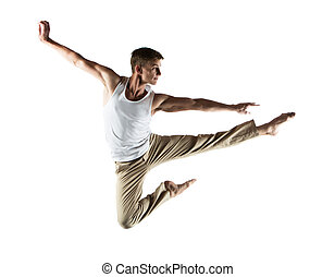 Caucasian male dancer - Adult caucasian male dancer wearing...