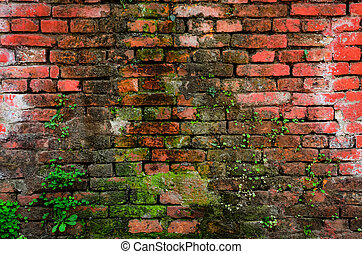 Detail of old weathered brick wall