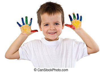Happy boy with painted hands - isolated
