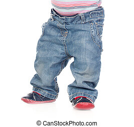 Photo of a baby standing waist down isolated on a white...