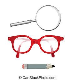 Vector Glasses, Pencil, Magnifying Glass Isolated on White Background