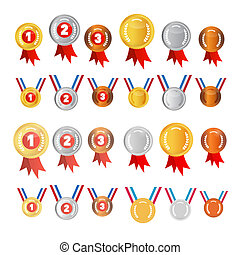 Vector Medals Set: Gold, Silver, Bronze, First, Second,...