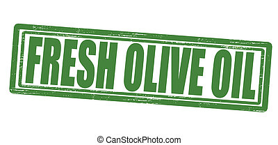 Fresh olive oil - Stamp with text fresh olive oil inside,...