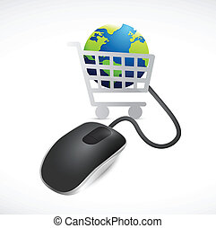 shopping cart globe and mouse