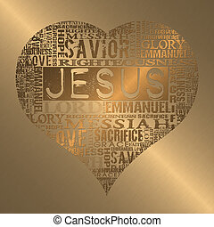 I love Jesus  - Religious words in gold style