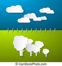 Paper Clouds and Trees on Blue - Green Notebook Background