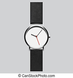 Wristwatch. Vector EPS8 - Black wristwatch on gray...