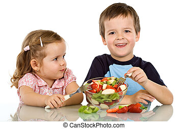 fruta, crianças, comer, salada