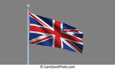 Flag of the United Kingdom of Great Britain and Northern Ireland waving in the wind