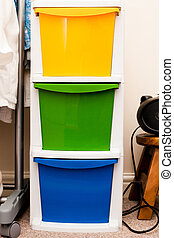 Storage crates - Colorful plastic storage crates in a...