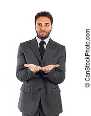 Handsome businessman isolated on white background.