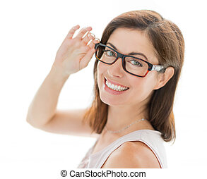 confident woman wearing stylish glasses - portrait of a...