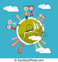Vector People on Green Globe Illustration with Blue Sky Background