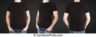 three man in black t-shirt