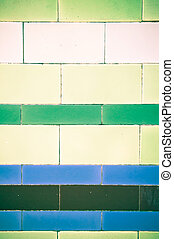 Wall tiles - Colorful decorative tiles on an old wall