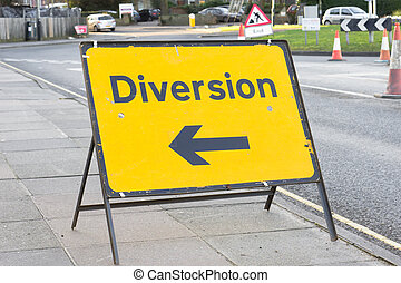 Diversion - Yellow diversion sign in a UK city street