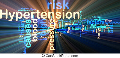 Hypertension wordcloud glowing - Word cloud tags concept...