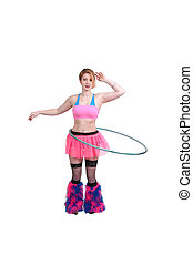 Woman with Hula Hoop - Young beautiful woman with a hula...