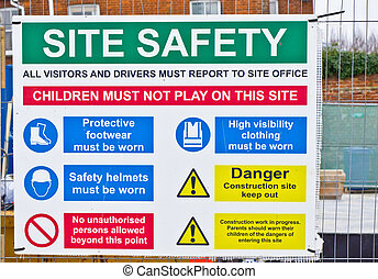 Safety sign - A safety sign at a construction site