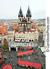 View of the Tyn Church in Prague, Czech republic.