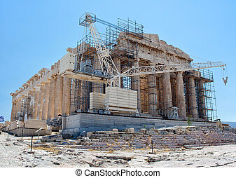Construction work at the Parthenon, Athens, Greece.