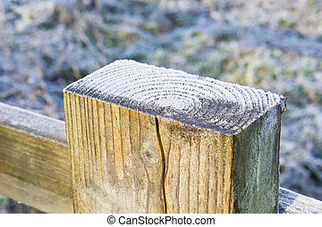 Frost on top of a wooden fence post