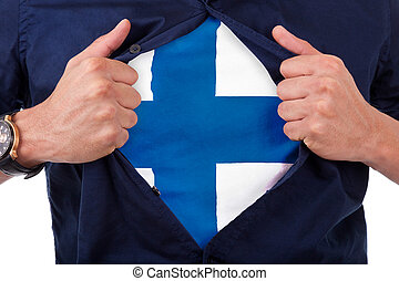 Young sport fan opening his shirt and showing the flag his country finland