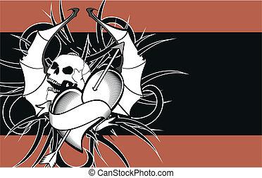heart winged bat skull tattoo6 - heart winged bat skull...