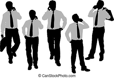 Silhouettes of Business men speaking phone - Silhouettes of...