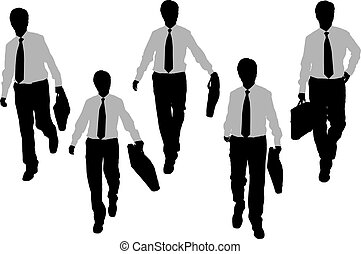 Silhouettes of Business men Walking
