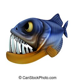 cartoon of piranha - 3d render cartoon of piranha collection...