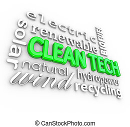 Clean Tech 3D Words Technology Disruptive Energy Power...