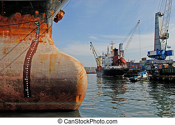 Commercial seaport - Commercial Sea port city of...