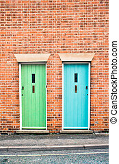 Front doors - Blue and green front doors in adjoining houses