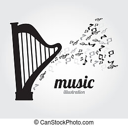 Music design  gray over background,vector illustration