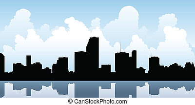Miami Skyline - Skyline silhouette of the city of Miami,...